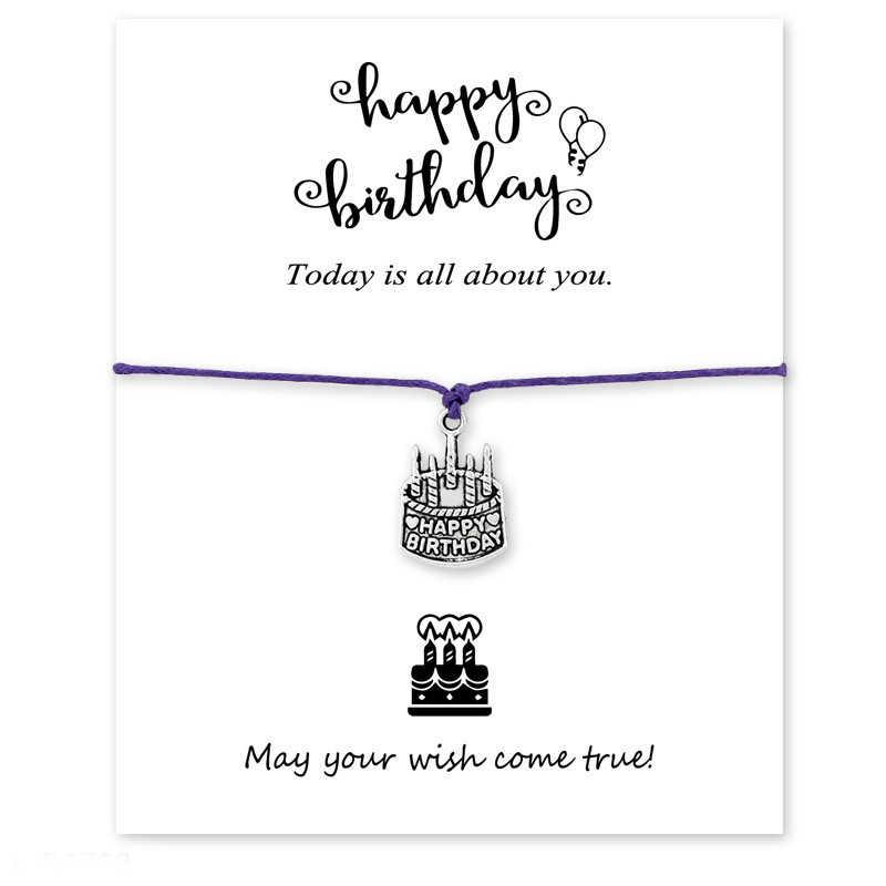 Wszystkiego najlepszego z okazji urodzin ciasto zrobić karty życzeń Charm bransoletka biżuteria dla matki okrągłe koło wosk liny zamszowa bransoletka hurtownie Dropship