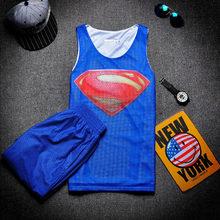 2017 Summer Fashion Tank Top sets 3D Print Sleeveless Shirt and Shorts Superhero Superman Brand font