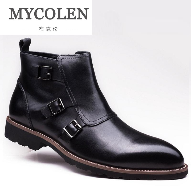 MYCOLEN New Style Mens High Top Leather Boots Autumn Casual Breathable Business Ankle Boots Men Shoes Formal Zippers BotasMYCOLEN New Style Mens High Top Leather Boots Autumn Casual Breathable Business Ankle Boots Men Shoes Formal Zippers Botas
