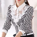 Осень Женщин рубашка женская с длинным рукавом большой размер Тонкий Блузка женщины кружева рубашки полоса рубашка дна рубашки дамы полосатой Блузке