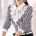 Mulheres outono camisa feminina de manga comprida grande tamanho mulheres Blusa de renda camisa camisa tarja Fino assentamento camisa senhora Blusa listrada