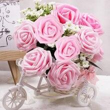 10 / 25pcs 8cm foam artificial rose multicolor wedding hand holding flower decoration melsnajsd diy
