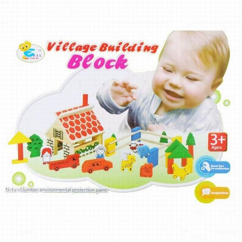 все цены на Happy Farm Building Blocks DIY Wooden Action Toy Figures Model Building Toys Cute Baby Learning Education Toys For Kids Children онлайн