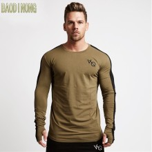 New autumn new men long sleeved t shirt cotton raglan sleeve gyms Fitness workout clothing male Casual fashion Brand tees tops