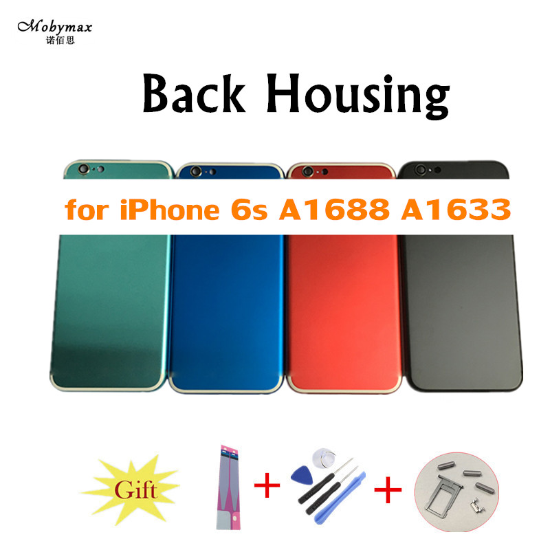 Chassis Back Housing Battery Cover Fundas Coque for iPhone 6S A1688 A1633 Housing+Buttons&Sim Tray+Sticker+Tool+Custom IMEI
