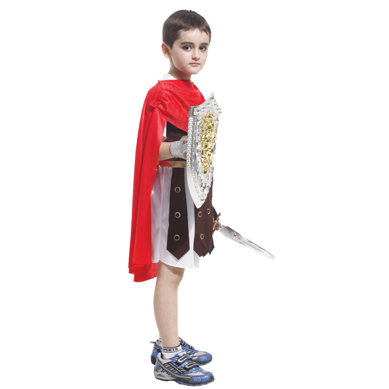 Kids Child Roman Warrior Costume Spartan Gladiator Soldier Costumes for Boys Carnival Purim Halloween Cosplay 3