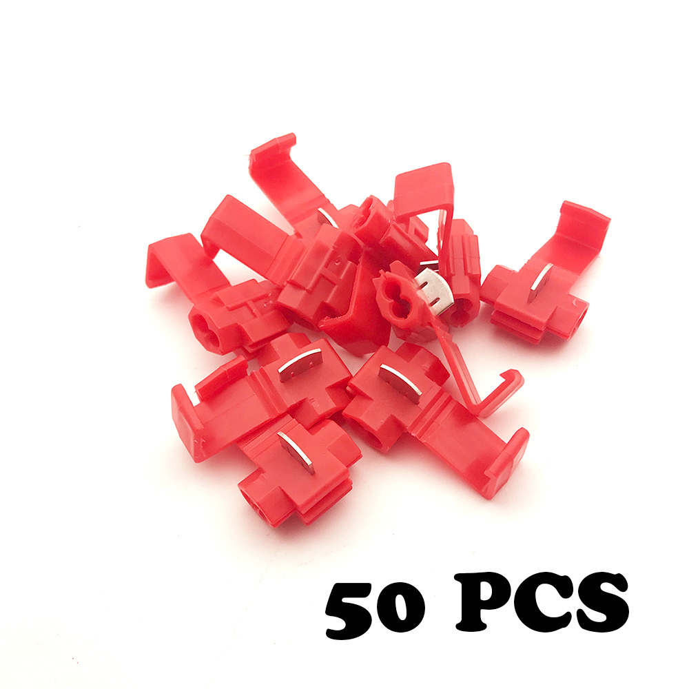 50 pcs Wire terminals wiring connector cable clamp quick connection clip wire stripping free card buckle 5pcs t shape 2 pin scotch lock quick splice wire wiring connector for 22 18awg led strip wire car audio cable terminals crimp