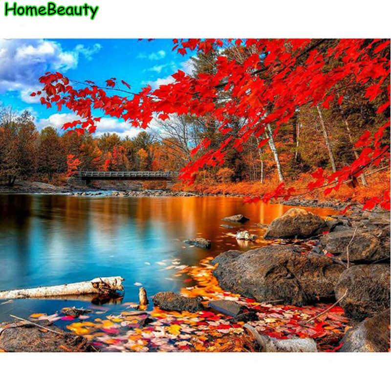 Diy oil painting by numbers landscape picture for living room wall canvas art acrylic coloring drawing by number craft PH9369