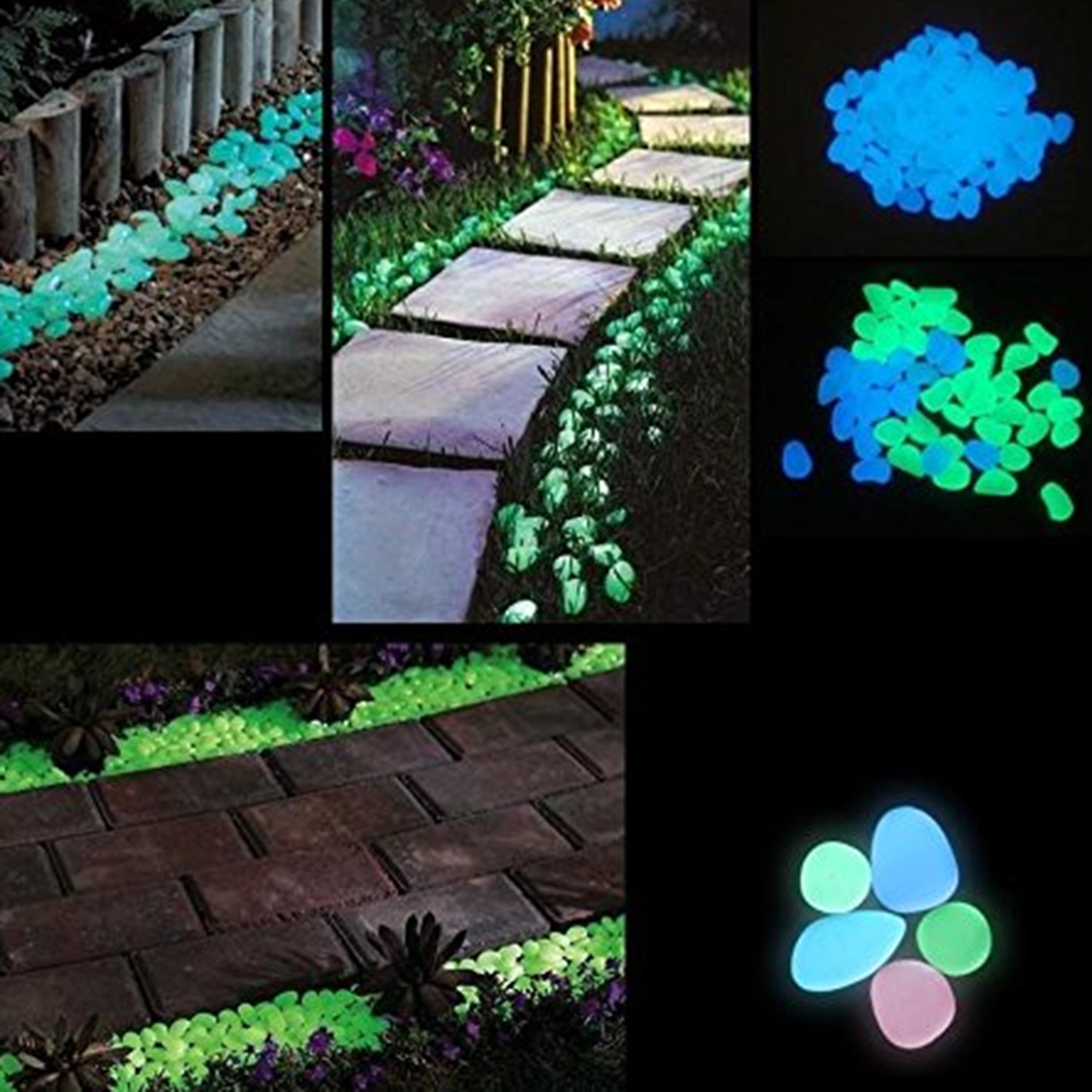 VICTMAX 240Pcs/set Luminous Resin Night Stone Pebble Garden Landscaping Decoration Artificial Cobblestone - Green + Blue White
