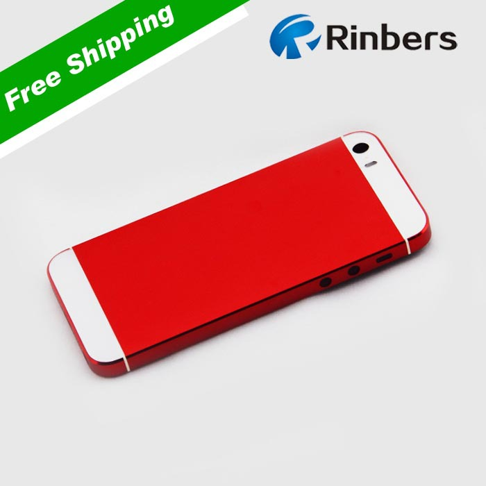 For IPhone 5S RED White Black Gold Back Glass Metal Cover Rear Housing Middle Frame Bezel Replacement LOGOWritings In Mobile Phone Housings From