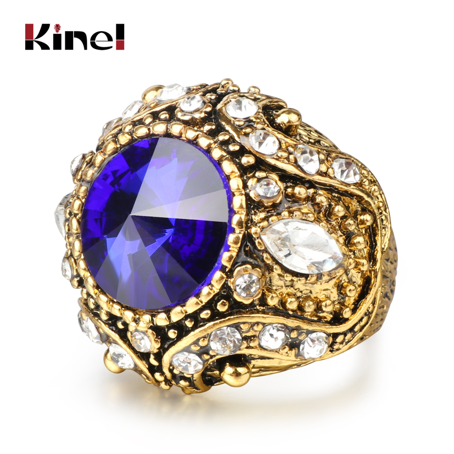 Luxury Red Blue Green Crystal Wedding Engagement Rings For Women Vintage Antique Gold Ring Turkish Indian Jewelry Free Shipping