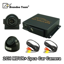 2CH Vehicle DVR MDVR Kit 2 Channel Car Mobile DVR Kits with 1pcs Dome Analog Cameras + 1pcs Analog Side View Camera cheap Car DVR After The Loading Machine Integrated Built-in AV-Out SD MMC TV-Out NONE French German Italian Chinese (Traditional)