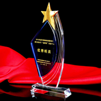 CTPS0026 Sail Star Shape Crystal Trophy Customized Logo Or Words Glass Sports Souvenirs Trophy League Cup Competition Award