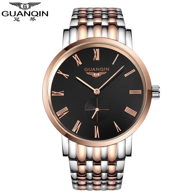 GUANQIN Men'S Watches New Luxury Brand Watch Men Fashion Simple Quartz-Watch Stainless Steel Strap Waterproof Relogio Masculino