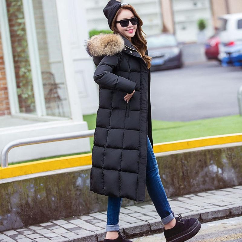 Vêtements Vestes D411 Avec Raton Nouveau grey Réel Hiver 2018 Laveur Coton Collier À Long Fourrure De Femmes Capuchon Black SazzOEYq
