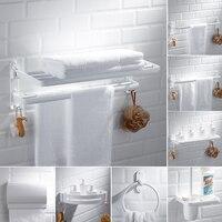 White space aluminum double racks Nordic style bathroom toilet brush with shelf Bathroom hardware kit