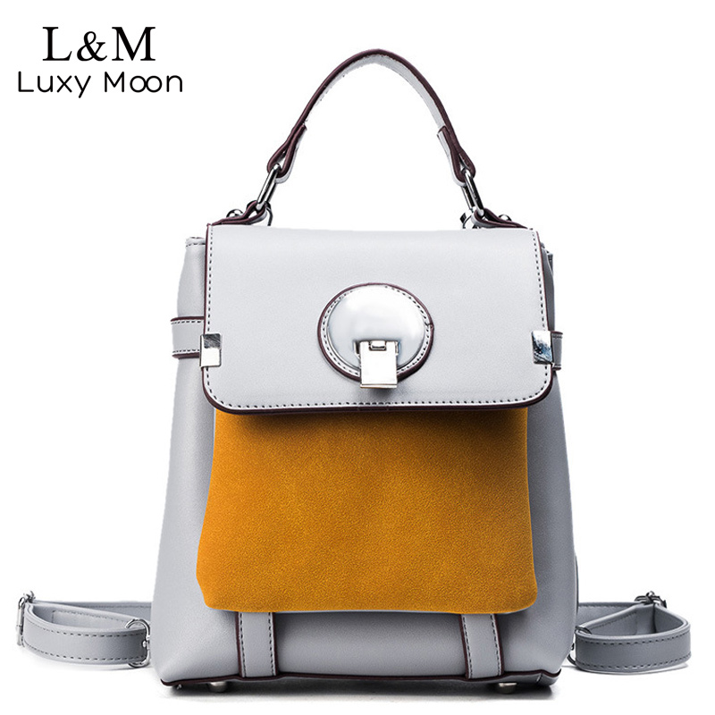 Women Lock Backpack Preppy Style Grey Panelled Backpacks  PU Leather Bag For Teenage Girls School Bags Day Pack Mochila XA1140H  pu leather vintage backpack 2016 preppy style women backpack school bags for college teenagers girls women mochila feminina