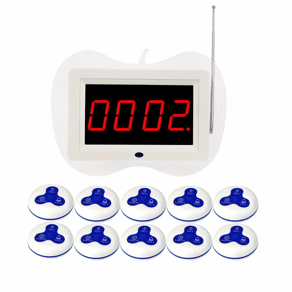 433MHz Wireless Waiter Nurse Calling Pager System Receiver Host Voice Broadcast+10pcs Call Transmitter Button Restaurant F3259B 10pcs 433mhz red pager wireless calling system waiter call transmitter button call pager restaurant equipment waterproof f3250c