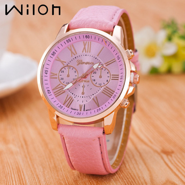 women watch Hot fashion quartz watches PU leather strap young sports women gold watch casual dress wristwatches 14 colors