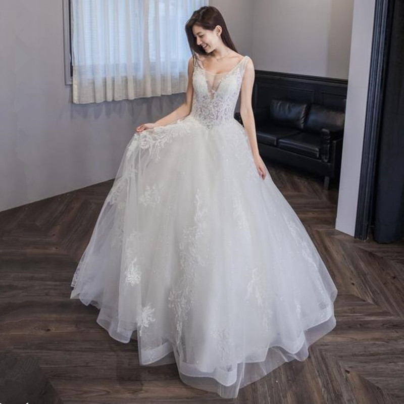 vinca sunny wedding Dress Sexy v neck wedding gown with long tail lace bridal dress backless wedding dresses vestidos de novia