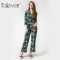 Talever 2017 Autumnr Elegant Womens Rompers Jumpsuit Casual Sashes Floral Print Bodysuit Long Sleeve Long Playsuits