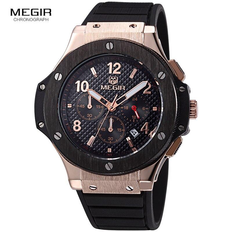 MEGIR hot casual quartz watches men fashion waterproof sport running watch for man chronograph cycling wristwatch for male 3002G