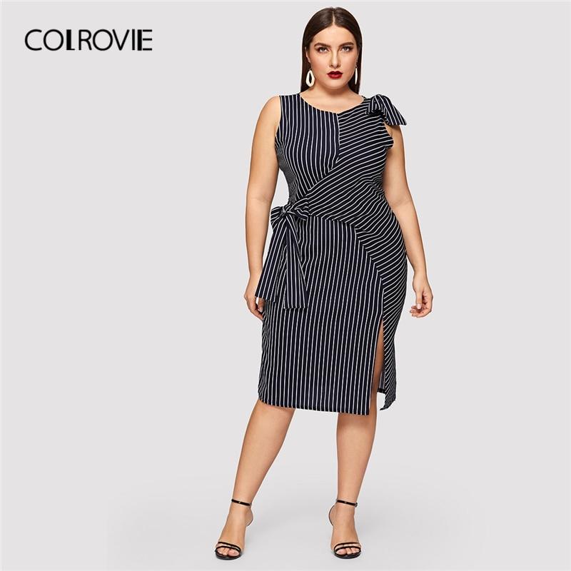 COLROVIE Plus Size Navy Striped Bow Waist Split Elegant Dress Women Clothing 2019 Summer Sleeveless Straight Party Midi Dresses