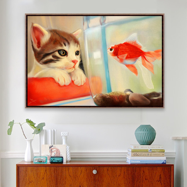 No Frame Modern Animal Kawaii Cat Goldfish Zen Photo A4 Large Art Print Poster Hipster Wall Picture Canvas Painting Home Decor