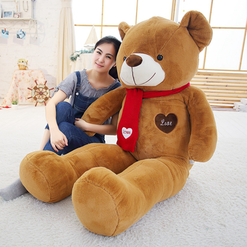 Soft Bigs Teddy Bears Stuffed Animal Plush Toy With Scarf 80cm100cm Cute Large Bears For Kids Giant Pillow Dolls Girlfriend GiftSoft Bigs Teddy Bears Stuffed Animal Plush Toy With Scarf 80cm100cm Cute Large Bears For Kids Giant Pillow Dolls Girlfriend Gift