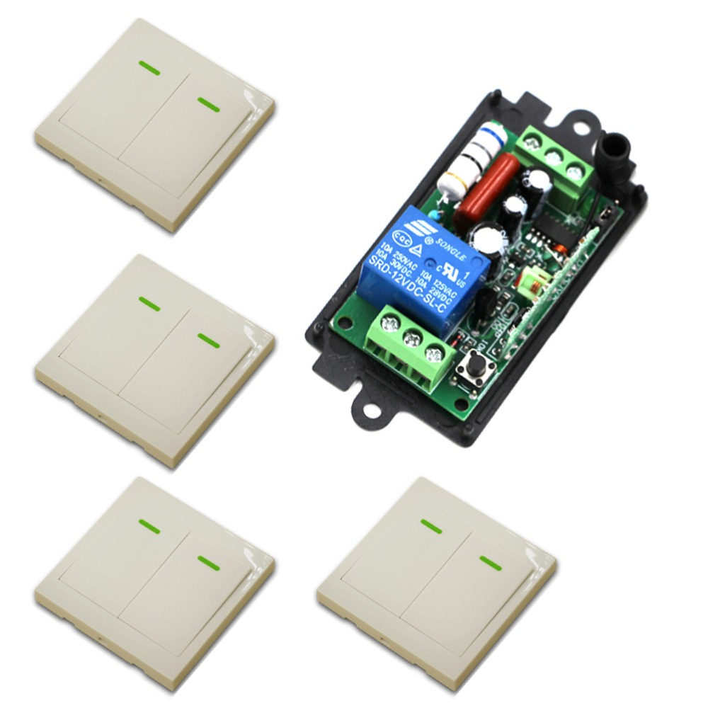 Most Simple Wiring New AC 110V 220 V 1CH Wireless Remote Control Switch System Receiver & 4*White Wall Panel Sticky Remote ac 220 v 1ch wireless remote control switch system receiver wall panel remote transmitter sticky remote smart home switch