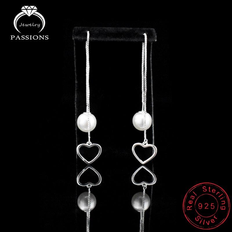 Hot módní láska srdce s perlou dlouhé ucho drátěné náušnice 925 mincovní stříbro přívěsek náušnice pro ženy náušnice šperky dárek