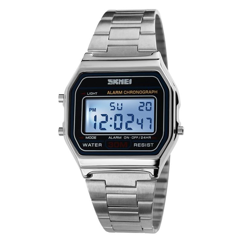 Men Classic Style Sport Watch Rectangle Shape Dial Digital Watches Steel Strap Waterproof Wristwatches