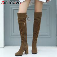 Smirnova NEW fashion long boots big size 2018 popular genuine leather over the knee boots high heels thigh high boots ladies