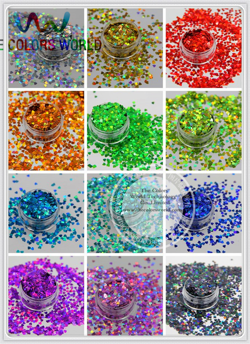 12 holographic Heart Shape sequins paillette for nail decoration and other art DIY decora Size : 3MM