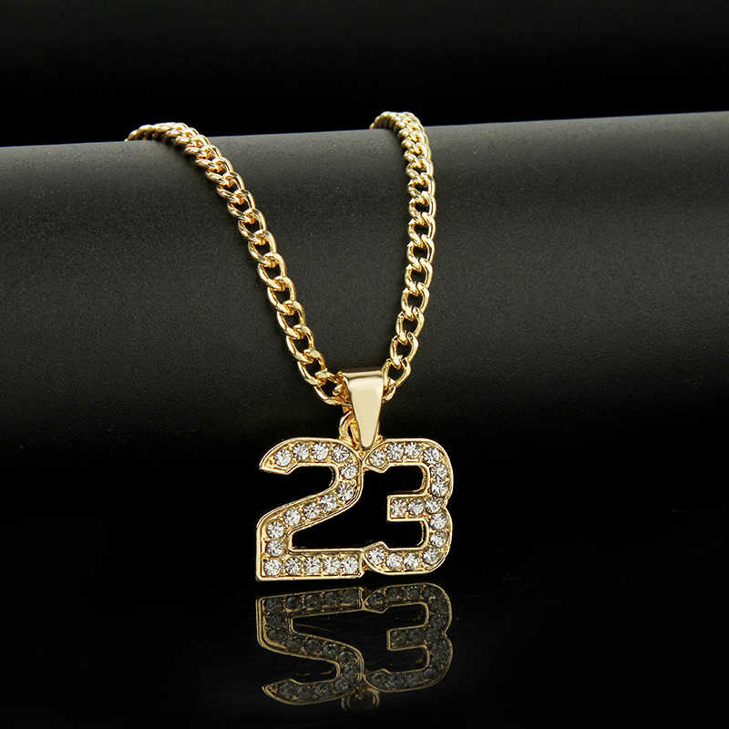 New Arrival Crystal Hip Hop Basketball Legend Number 23 Necklaces & Pendants Bling Gold Cuban Chain Necklace Jewelry For Men