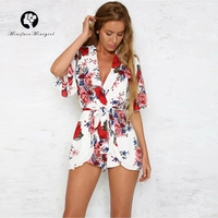 White Summer Casual Playsuit V Neck Sexy Jumpsuit Romper with Sashes women 2018 Chic Floral Print Beach Overalls Playsuits