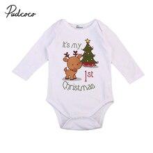 Комбинезон для малышей Рождественский комбинезон для новорожденных мальчиков и девочек с рисунком оленя и рождественской елки; комбинезон с длинными рукавами; осенняя одежда для малышей