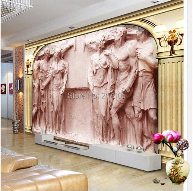 Custom 3D wallpaper murals of European Rome column relief statue ...