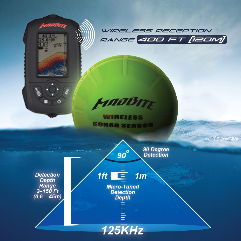 russian/english/spanish menu wireless sonar portable fish finder, Fish Finder