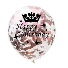 5PCS 12 Inches Round Transparent Latex Paper Balloon For Birthday Party Decoration Crown Rose Gold Confetti