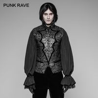 PUNK RAVE New Men Gothic Bat Collar Vest Steampunk Fashion Party Vintage Jacquard Woven Stage Cosplay Jacket Waistcoat Clothing