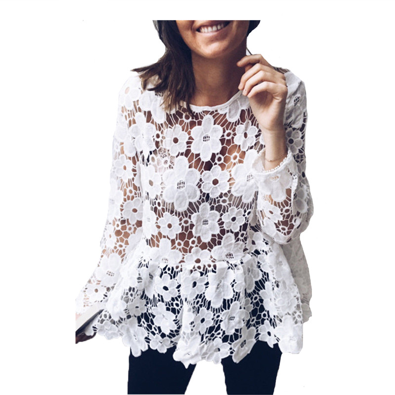 9fd5803c0aa 2018 Summer Women Top Long Sleeve Elegant White Lace Blouse Femme Hollow  Out Ladies Office Shirt Transparent Cotton Blusas Mujer-in Blouses & Shirts  from ...