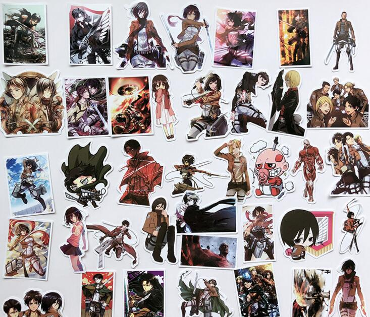 39Pcs/lot Japanese Anime Attack On Titan Mikasa Levi Eren Stickers For Car Phone Luggage Laptop Bicycle Decal Sticker