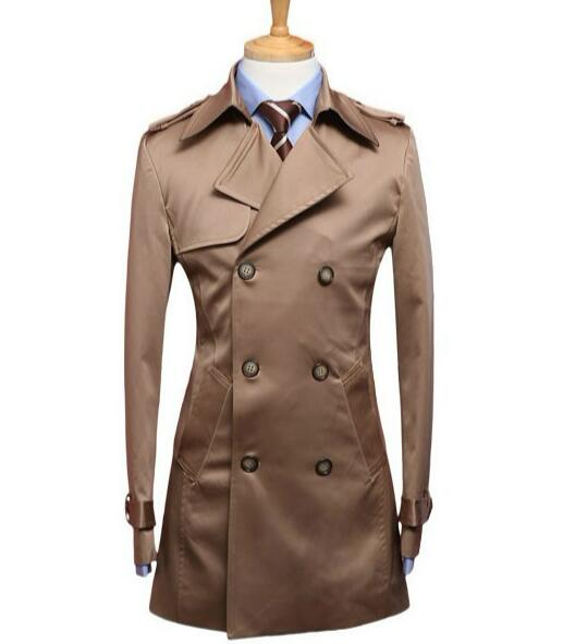 2019 autumn new designer slim sexy   trench   coat men double breasted overcoat mens clothing business high quality male outerwear