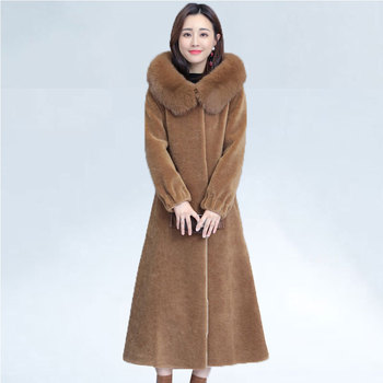 2019 Plus Size 4XL Winter Women Natural Genuine Sheep Shearing Fur Long Coats Jacket Female Real Fox Fur Hooded Wool Overcoat image
