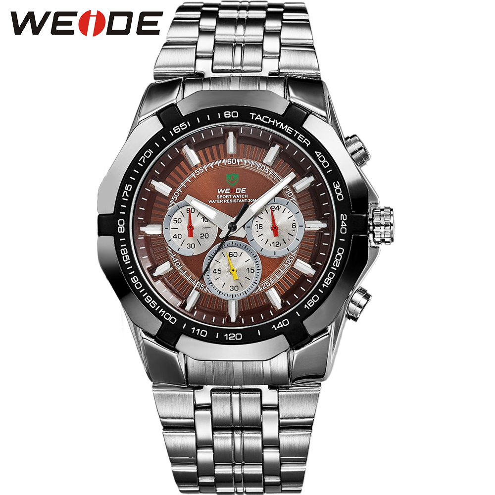 WEIDE New Sport Watch Luxury Brand Analog Quartz Wristwatch Simple Analog Bracelet 30 Meters Waterproof Man Watches Chronograph l 10 women s stylish petals style bracelet quartz analog wristwatch golden white 1 x lr626