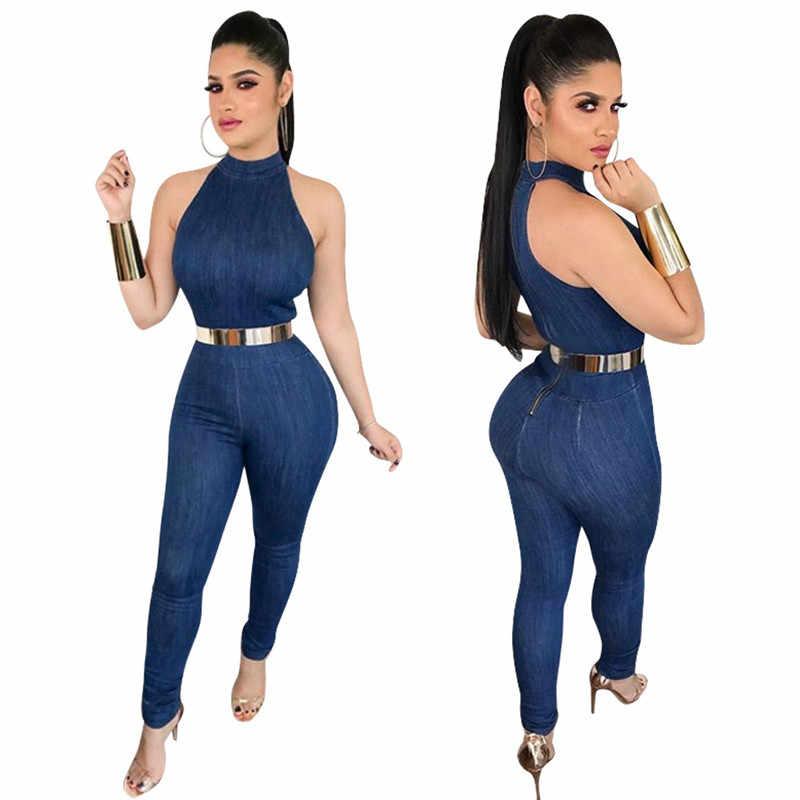 Синий джинсовый комбинезон Женская Летняя мода без рукавов на молнии сзади обтягивающие сексуальные комбинезоны длинные брюки джинсы комбинезоны спецодежда