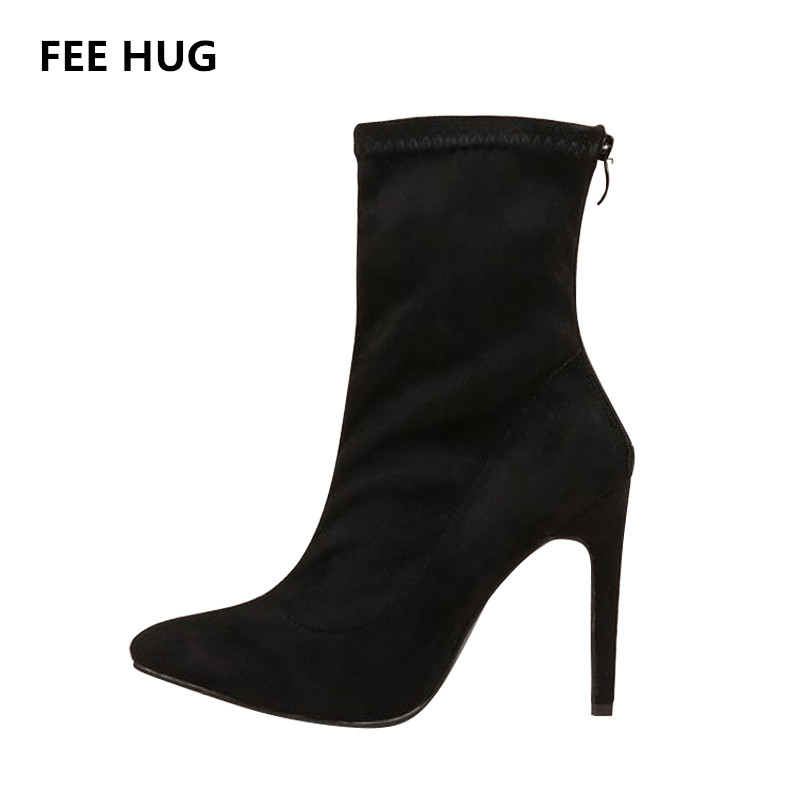 FEE HUG 2018 Sexy Point Toe Mid-Calf Boots High Heels Suede Leather Woman's Shoes Thin Heels Back Zippers Short Boots Dress Shoe