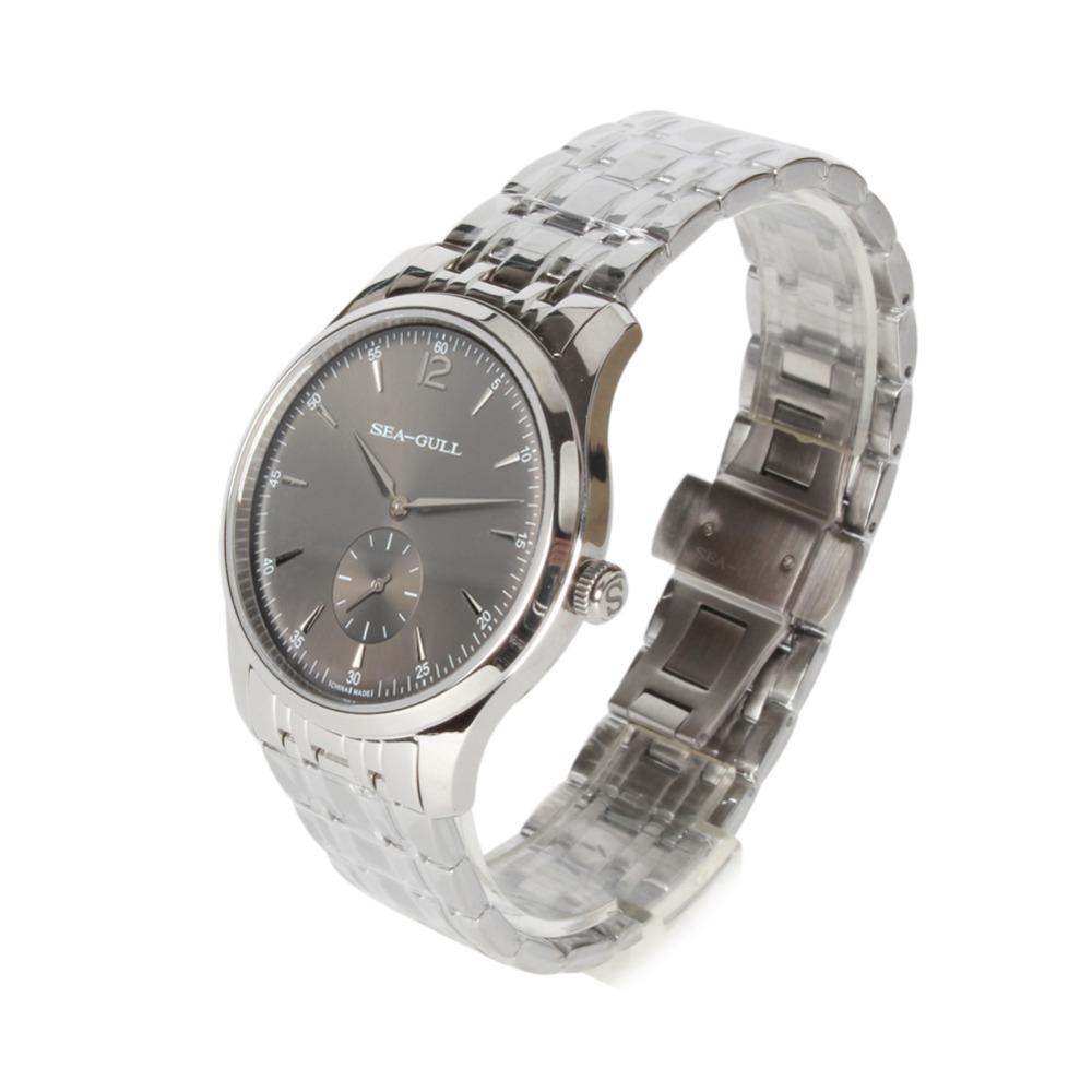 Ultra Dunne 9 MM Seagull Kleine Tweedehands Tentoonstelling Terug Manual Hand Kronkelende Mechanische heren Dress Horloge D816.448 Zwart dial-in Mechanische Horloges van Horloges op  Groep 3