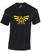 CREST OF HYRULE MENS T SHIRT LEGEND ZELDA TRIFORCE SKYWARD SHORTAMA GAMER New Shirts Funny Tops Tee  free shipping